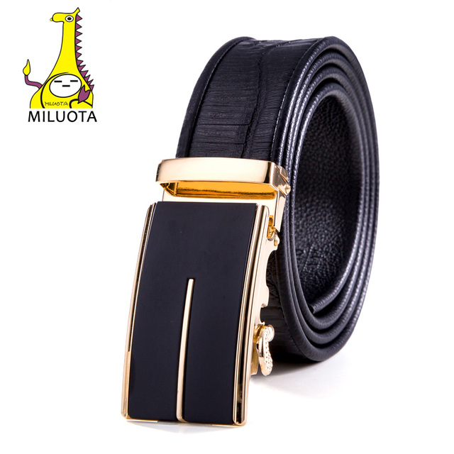 2016 Men`s Genuine Leather Ratchet Dress Belt with Automatic Buckle Belts for Man Luxury Strap MU046