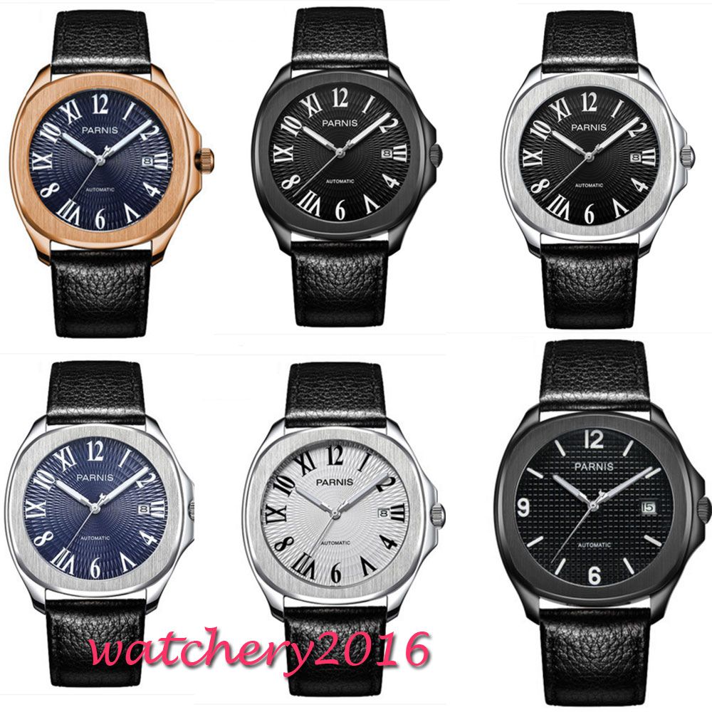 Valentines gifts 40mm Parnis Black BLue White Dial Sapphire Glass Date SS Case Luxury Brand Miyota Automatic Movement mens Watch romantic 42mm parnis black dial luxury brand ss case valentines date leather miyota automatic movement men s business watch