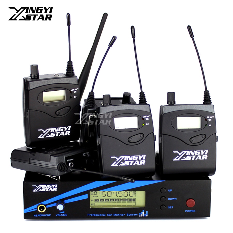 Five Bodypack Receiver UHF Wireless In Ear Monitor System Professional Stage Monitoring G2 Cordless One Transmitter in Headphone