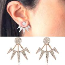 Hfarich Zircon Crystal Leaf Earring Jackets Ear Cuff Clip For Women Piercing Earrings Jewelry Brincos Flower Stud Dropshipping(China)