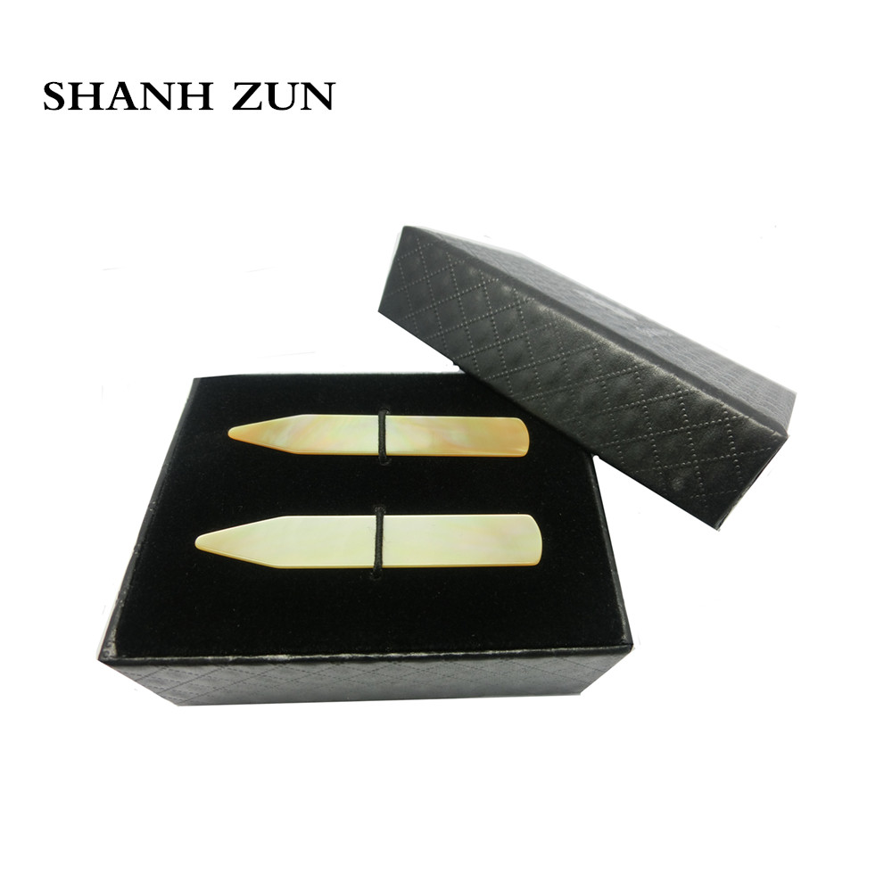 SHANH ZUN Natural Mother Of Pearl Shell Collar Stays Collar Stay Bones For Men's Shirt - Yellow, 2.37 Inches