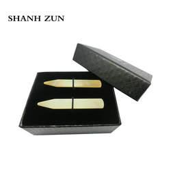 SHANH Зун натуральный перламутр Shell воротник остается Воротник пребывания кости для Для мужчин рубашка-желтый, 2,37 дюйм(ов)