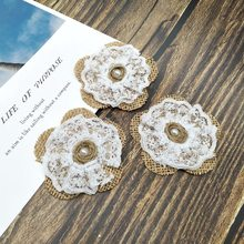 5pcs/Set Burlap fabric Lace Rose Flower Pearl Natural color Rustic Wedding Paty Decoration Crafts DIY