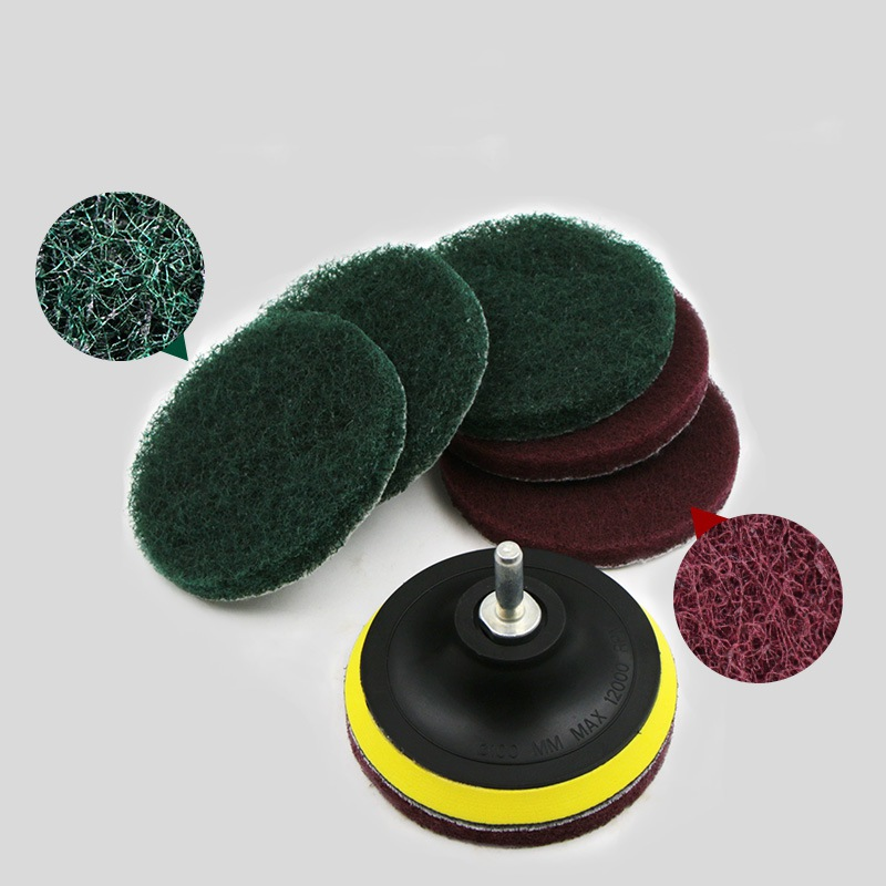 Drill 4 Inch Power Brush Tile Scrubber Scouring Pads Cleaning Kit, Includes Drill Attachment Heavy Duty Household Cleaning Tool