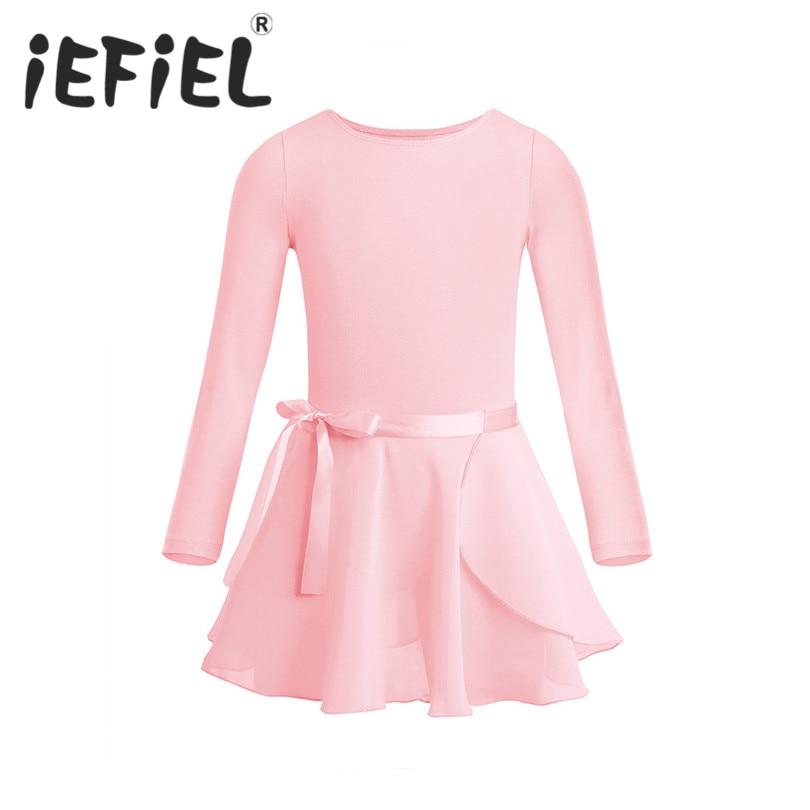 Kids Girls Long Sleeve Cotton Tulle Tutu Ballet Dance Leotard Dress For Performance Dancewear Clothes With Chiffon Tied Skirt