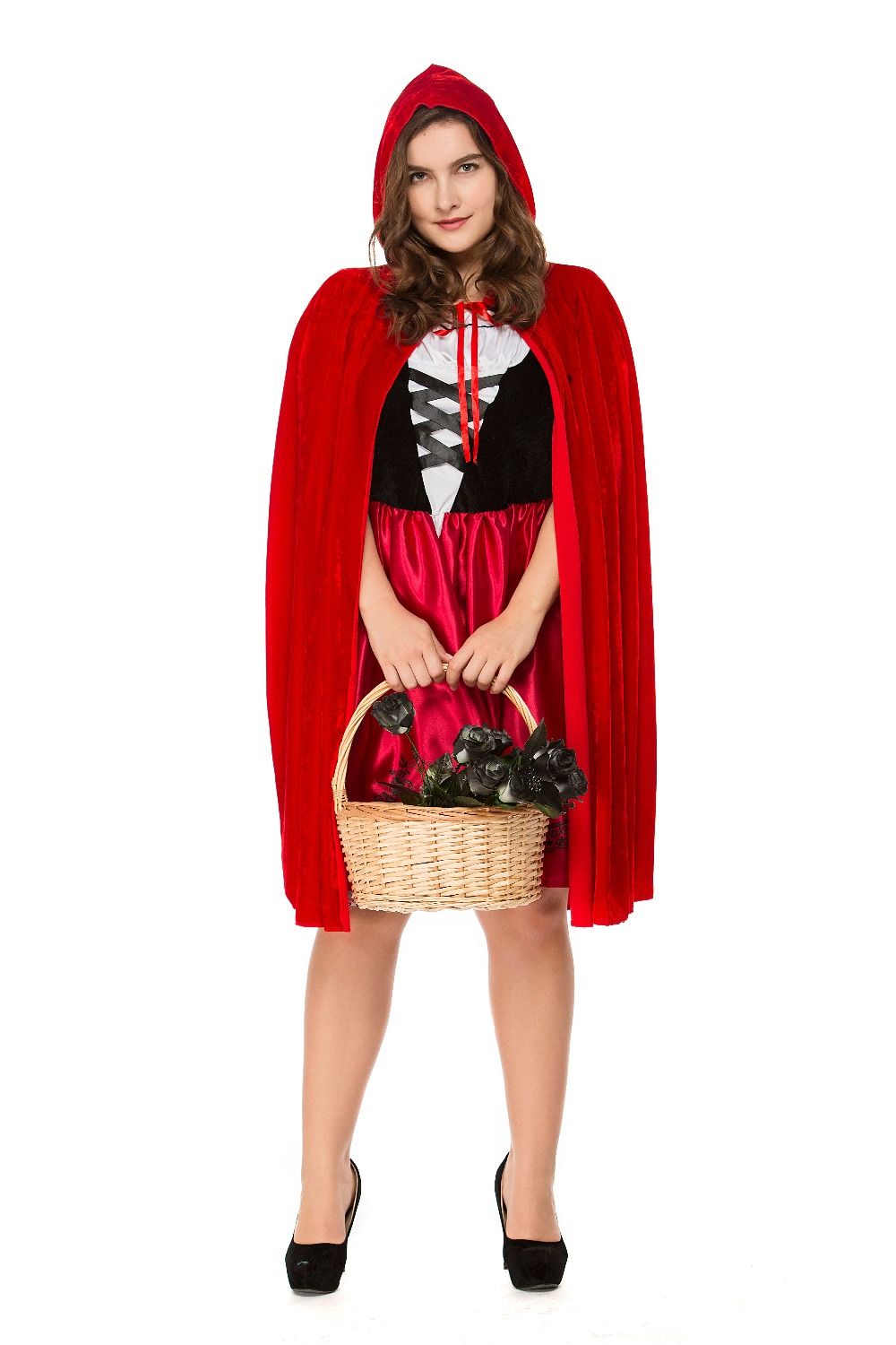 Plus Size Adult Women Halloween Costume Little Red Riding Hooded Robe Lady Embroidery Dress Party Cloak Outfit A003