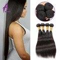 7A en Bruto Peruano de la Virgen Recta Extensión Del Pelo Bundles Virgin Hair Weave Bundles Barato Peruano Cabello Liso 4 Bundles