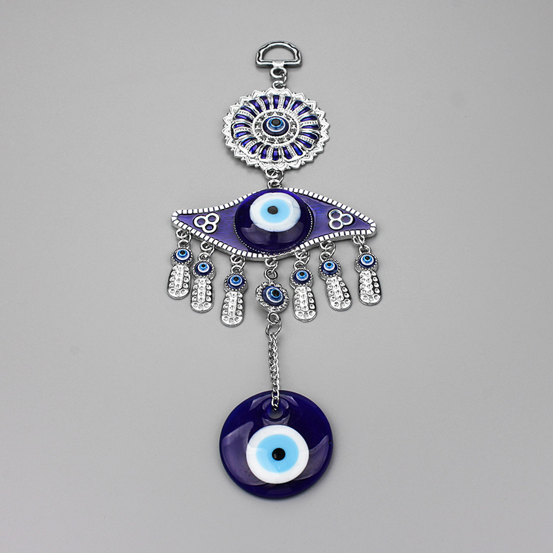 Key Chains 2017 New Arrival Hand Keychain Blue Resin Stone Evil Eye Charms Beads Pendant Key Rings
