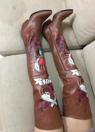 Fall Winter Printed Lady Over-the-knee Runway Shoes Pointed Toe Motorcycle Long Boots Women Thigh High Boots Cowboy Boots