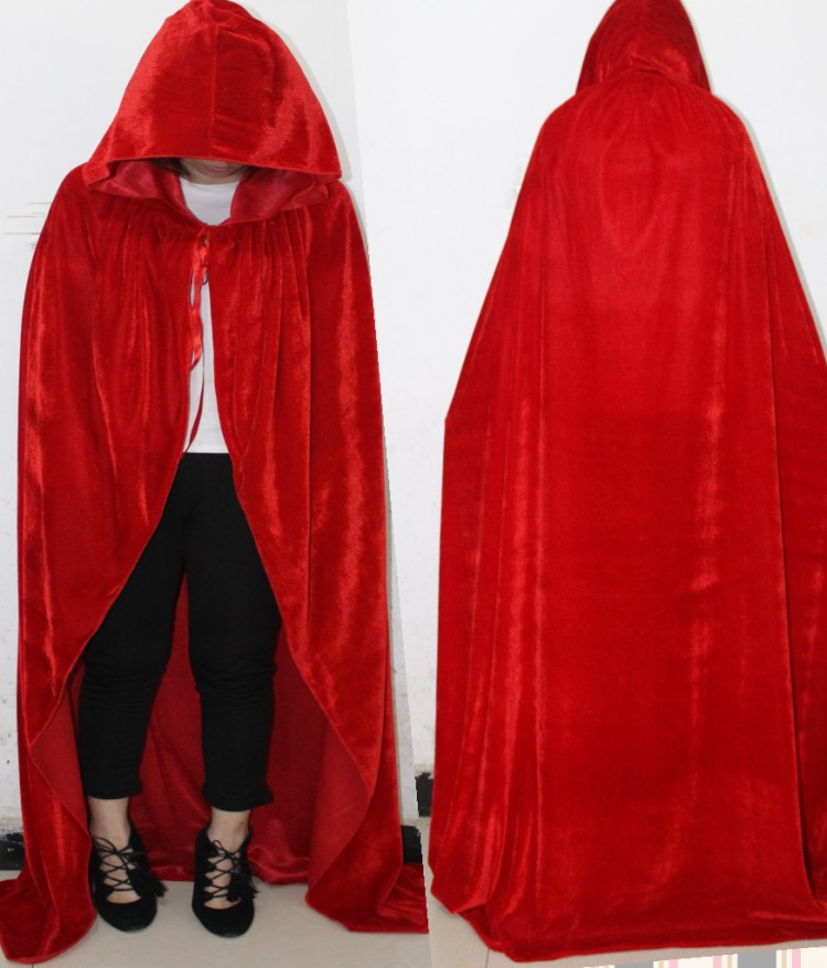 Adult Witch Long Purple Green Red Black Cloaks Hood Cape
