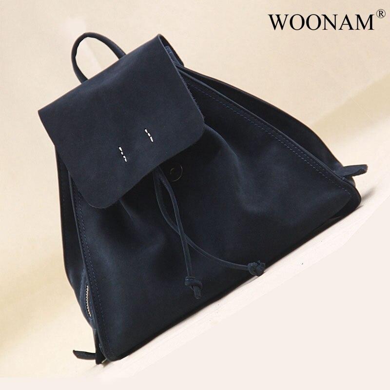 WOONAM Top Grain Genuine Calf Suede Leather Drawstring Small Backpack Shoulder Bag
