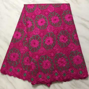 5 Yards/pc Hot sale fuchsia african cotton fabric green flower embroidery swiss voile lace for clothes BC16-9