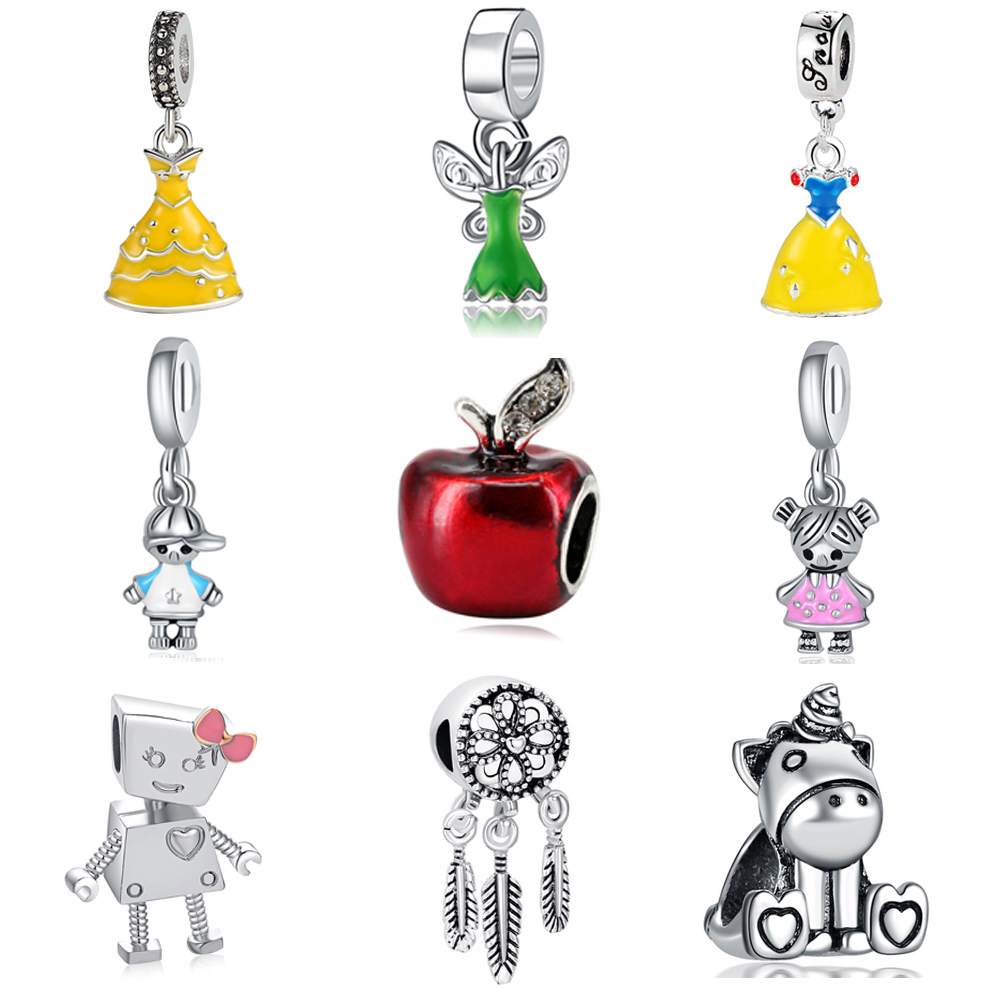 New European Silver Plated Bead Charm Lovely Princess Cinderella Dress Cartoon Mouse DIY Pendant Fit Women Pandora Bracelets