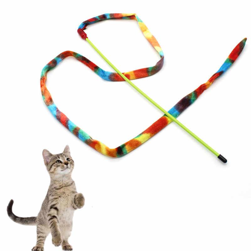 面白い羽春子猫猫のおもちゃの羽ロッドティーザーベルビーズ再生ペット杖からかう着色されたビーズを freeshipping
