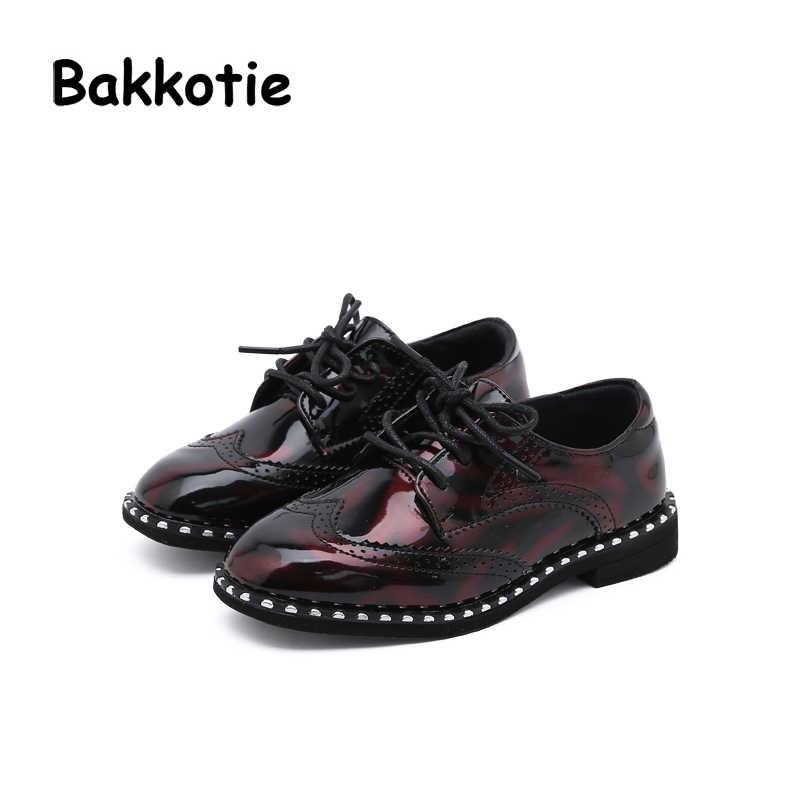 1bf21bb9d490 Bakkotie 2018 Fashion Child Spring Autumn Fashion Baby Girl Patent Leather  Flats Leisure Kid Brand Glitter