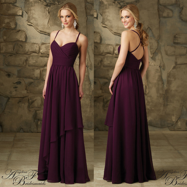 Eggplant Purple Bridesmaid Dress Chiffon Floor Length Spaghetti Straps Sweetheart Wedding Dresses Long Plum
