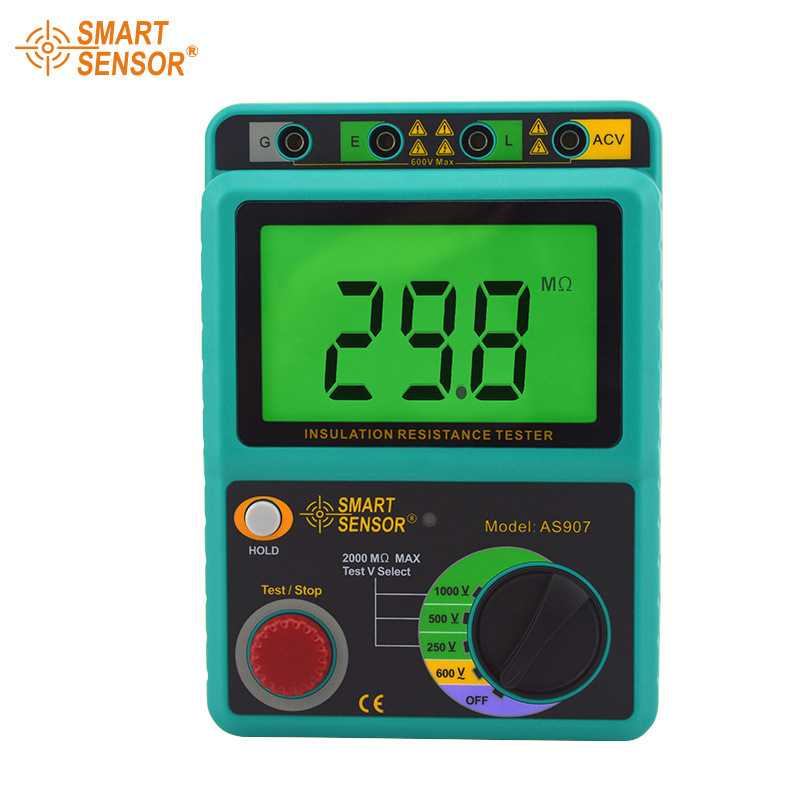 Smart Sensor AS907 Digital Insulation Resistance Tester Megger MegOhm 1K~2000Mohm High Voltage detector meter 250V/500V/1000V  as907a digital insulation tester megger with voltage range 500v 1000v 2500v