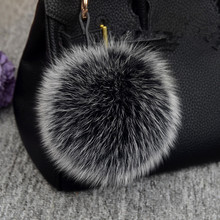Luxury 15cm fluffy Fox Fur Ball Keychain Fur Pompons Keychain Keyring Pom Pom Keychain for Charm Bag Pendant Ornament Gift pom pom keychain with bell