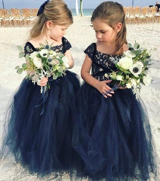 2018 Bloem Meisje Jurken Navy Blue Lace Arabisch Goedkope Baljurk Tule Kind Kleine Bruid Vintage Meisje Pageant Jurken