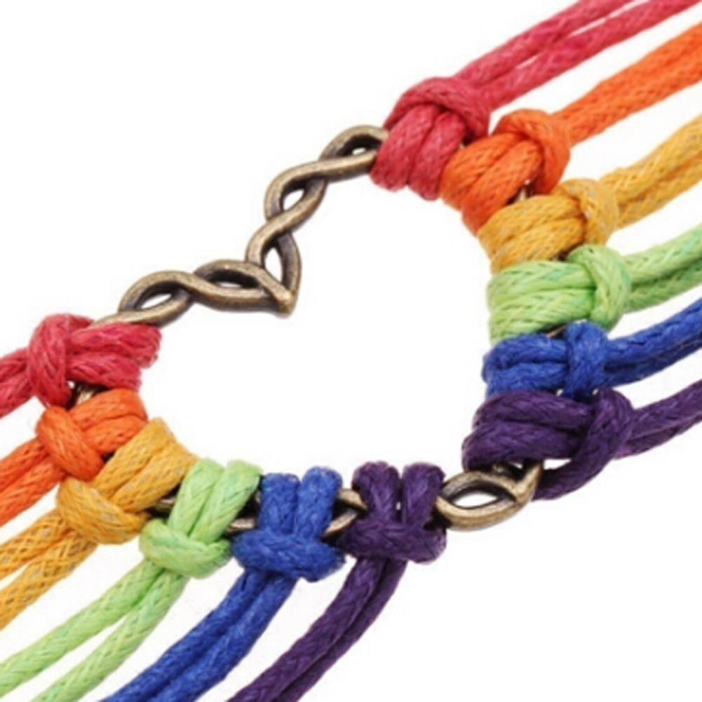 Fashion New Charm Demon Rainbow Flag Pride LGBT Heart Braided Bracelets Gay Lesbian Love