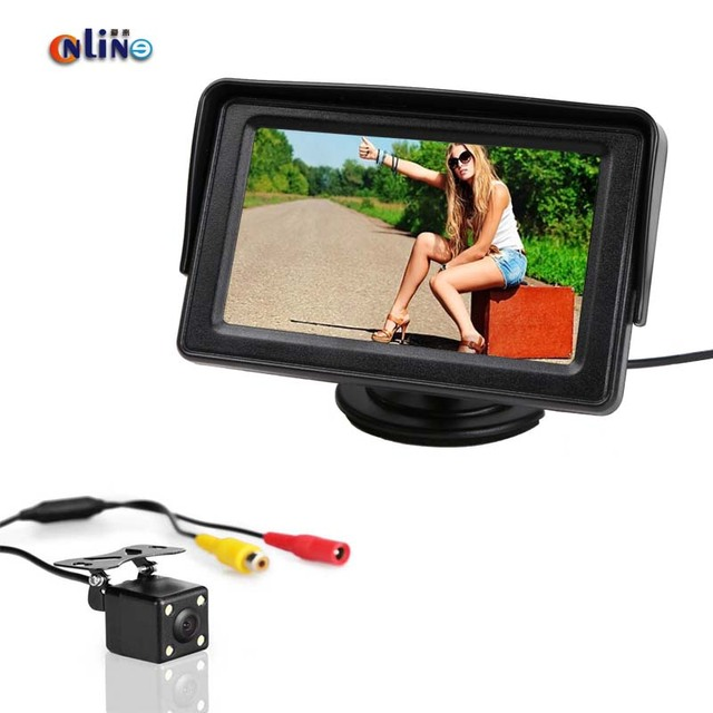 Online/4 LED Night Car Rearview Reversing Vehicle  Camera Parking Backup Monitor System +4.3 inch Color LCD Car Monitor Monitor