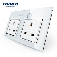 Livolo UK Standard Wall Power Socket VL C7C2UK 11 White Crystal Glass Panel Manufacturer Of 13A