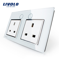 Livolo UK Standard Wall Power Socket VL C7C2UK 11 White Crystal Glass Panel Manufacturer Of 13A