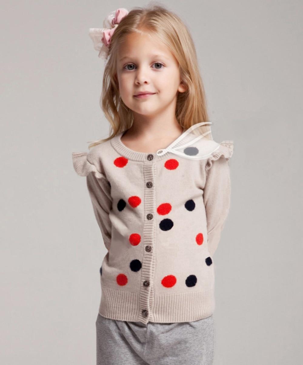 цена Baby Girls Sweater Cashmere Warm Soft Knitted Baby Girls Cardigans Cachemir Dot Beige for Girl Italy Designer онлайн в 2017 году