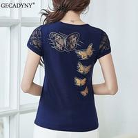 2017 Summer T Shirt Women Lace Short Sleeve T Shirts Female Flower Print Hollow Hot Drilling