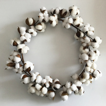 1pc Artificial Dried Flower Floral Garland  Decorative Farmhouse Door Wall Decoration Cotton Boll Wreath