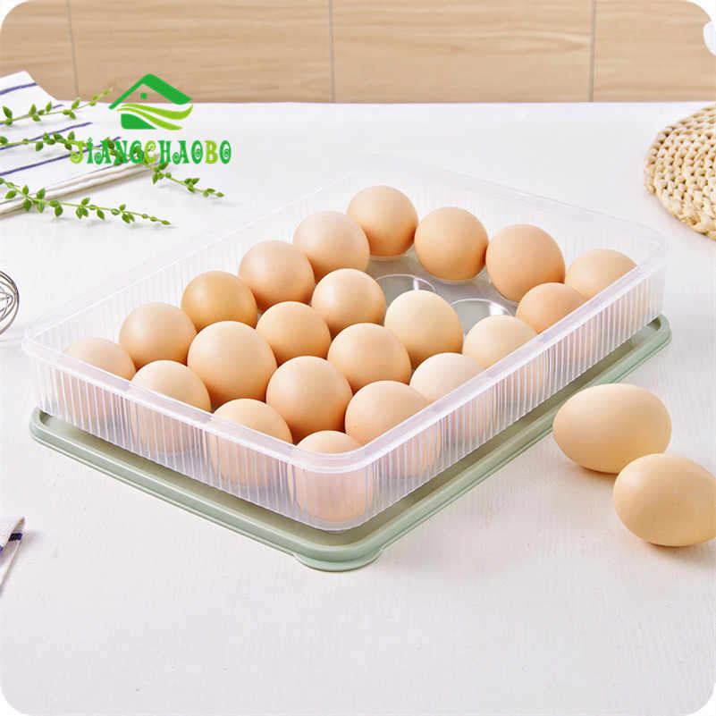 JiangChaoBo Can Be Stacked Refrigerator Egg Storage Box 24 Egg Care Kitchen With A Dust-Proof Food Storage Box
