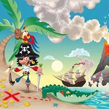 Sol Navio Pirata Tema Cena Palma Da foto Da Árvore de Vinil pano de fundo pano Computer impresso das crianças das crianças fundo do estúdio da fotografia