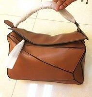 2018 Women Bag Brand Design Real Cow Leather Soft Geometric Handbag For Woman Shoulder Bags With Long Strap Sac Bolsas