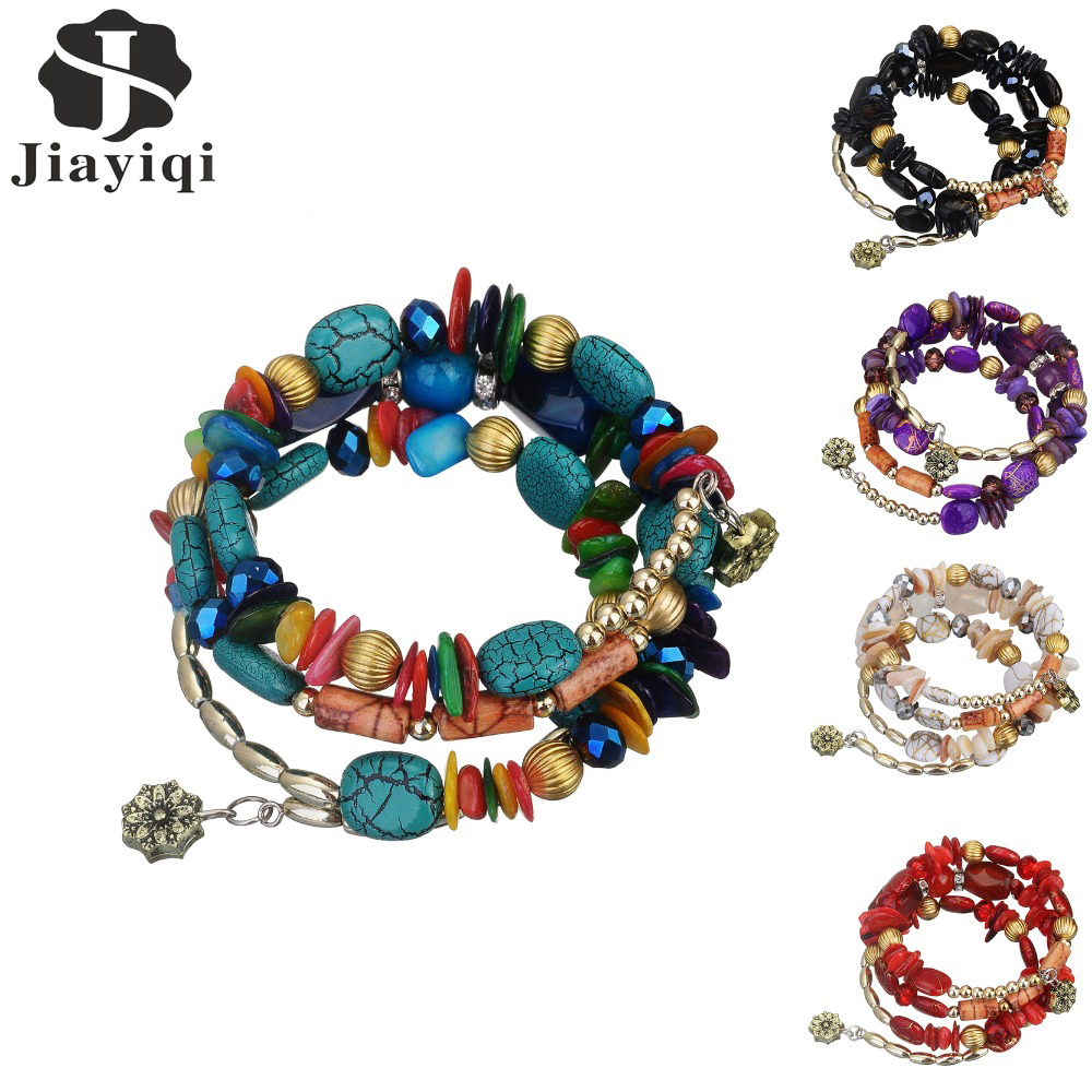 2017 New Hot Bohemian Charm Bracelet Crystal Nature Stone Shell Wood Wrap Bracelets For Women Fashion Jewelry Boho Bangles