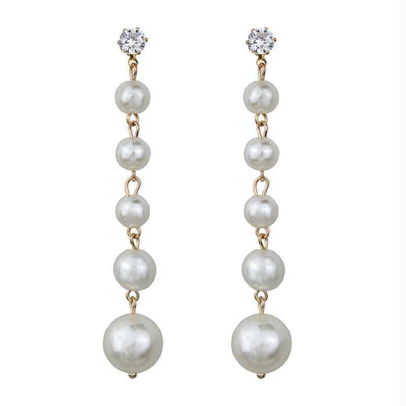 2018 New Trendy Elegant tassel Big Simulated Pearl Long Earrings Pearls String Statement Crystal Dangle Earrings For Wedding
