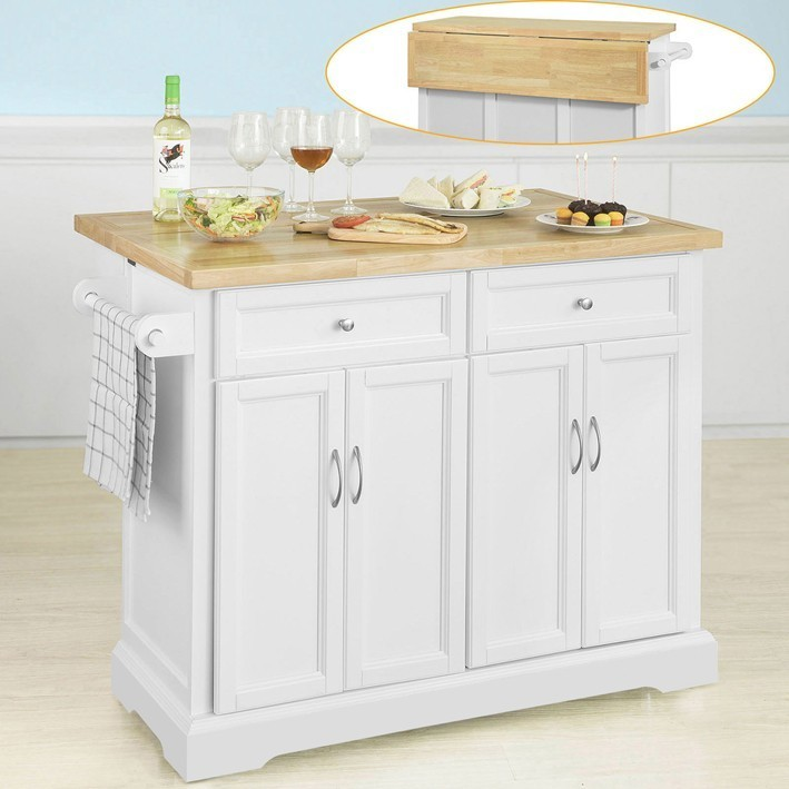 SoBuy® FKW71-WN Extendable Kitchen Island Storage Trolley Kitchen Cabinet Cupboard Sideboard