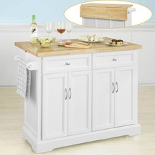 SoBuy® FKW71-WN Extendable Kitchen Island Storage Trolley Cabinet Cupboard Sideboard