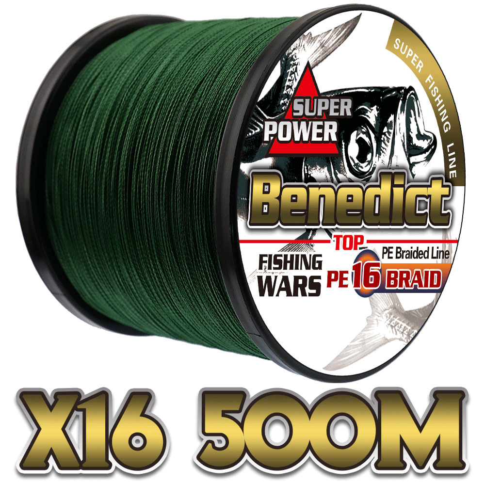 saltwater sea fishing 500M/547yards 16strands hollowcore braided pe fiber line top 20LB 500LB fishing rope 0.16mm 2.0mm wires
