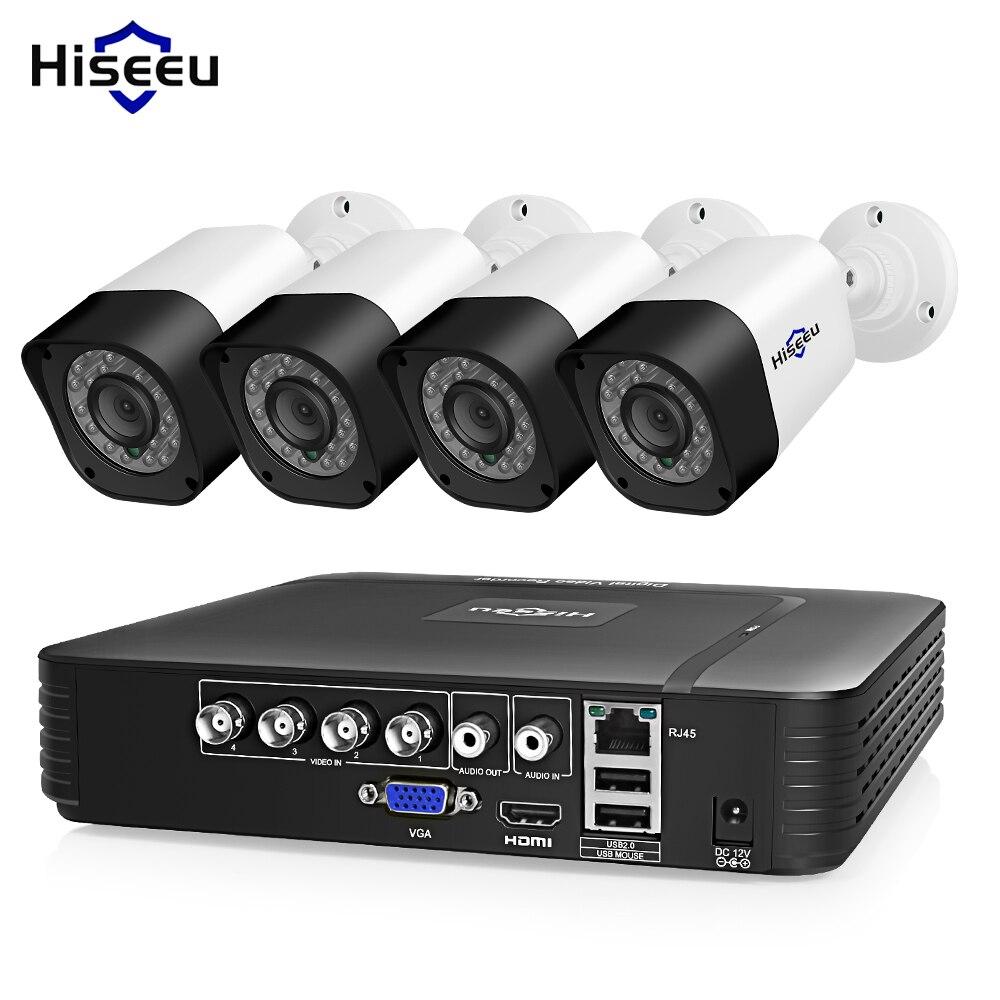 Système de caméra de vidéosurveillance Hiseeu 4CH AHD 1.0MP 2MP IR Vision nocturne caméra intérieure extérieure Kit de système de Surveillance vidéo de sécurité à domicile
