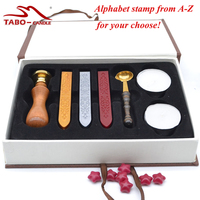 Retro Wooden Alphabet Letter Initial Wax Seal Stamp Kit Vintage Letter Envolop Sealing Wax Stamp Set