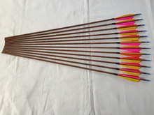 Wood skin Carbon arrow ID6.2mm Spine500 with 5″ Turkey feather fletching and pin Nock Bushing for traditional bow archery