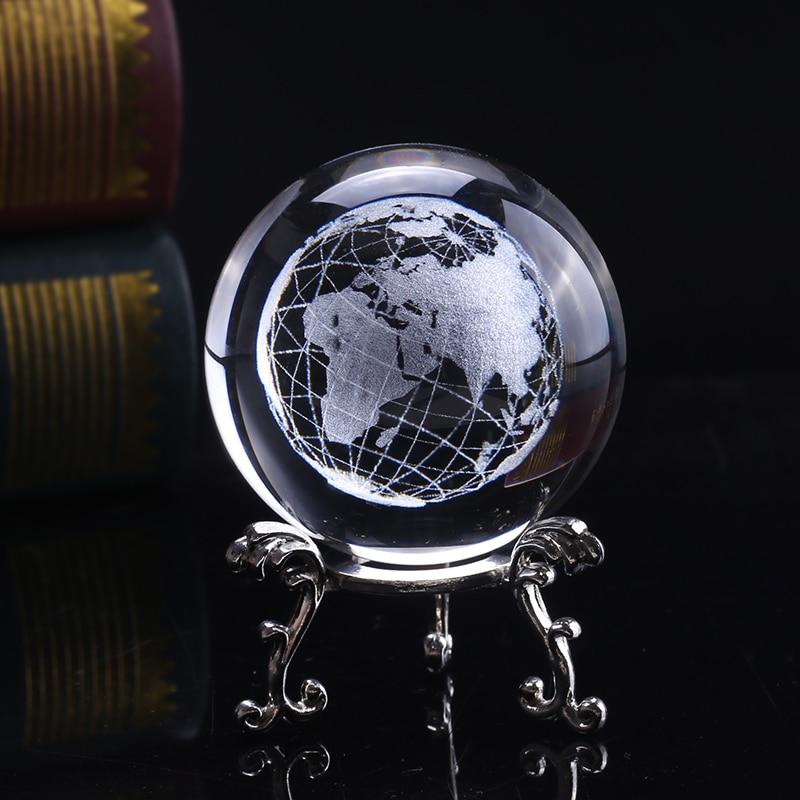 6 cm 3D Kristall Erde Ball Glas Laser Gravierte Miniatur Erde Modell Kugel Kristall Handwerk Wohnkultur Ornament Geschenk Globus