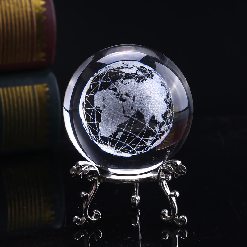 Crystal Glass Frosted World Globe Stand Paperweight Home Desk Wedding Decor M9U5