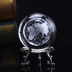 6cm 3d bola de cristal vidro gravado a laser miniatura modelo terra esfera cristal artesanato decoração para casa acessórios ornamento globo