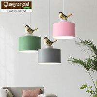 Qiseyuncai Nordic Color Single head Bird LED chandelier Simple Creative Restaurant Corridor bedroom Metal Suspension Luminaire