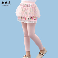 Baby Leggings Age 6 8 10 to 12 Years Dark Blue Print Lace Girls Pants with Skirt Flower Girls Leggings Kids Teens Clothes 5M03