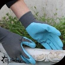 SRSafety three PAIRS OF Nylon LATEX RUBBER WORK GLOVES GARDENING SAFETY GRIP Glove