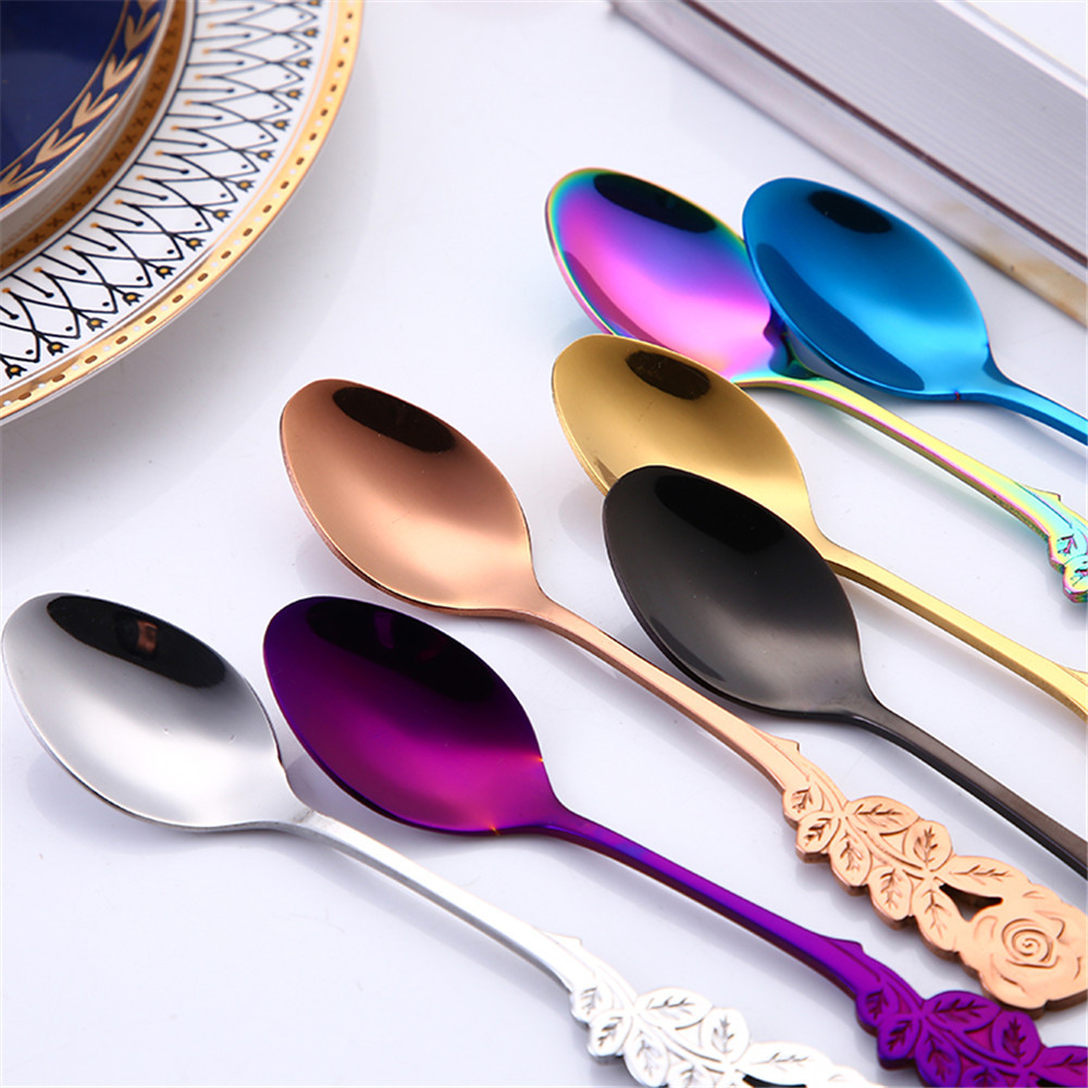Small Mini Stainless Steel Flower Coffee Spoon Strring Spoon Teaspoon Tea Spoon Dessert Spoon Long Handle Tableware Gold 11.1