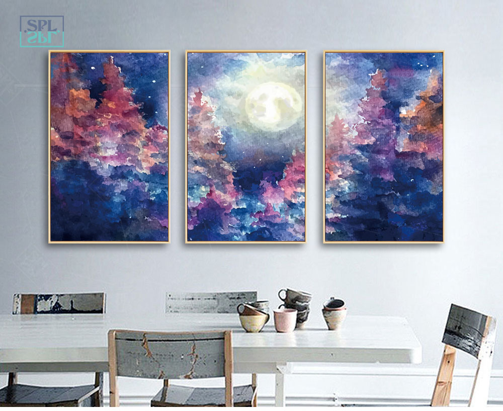SPLSPL Unframed Abstract Wall Picture Watercolor Moonlight Scenery Home Decoration Canvas Art Print Painting DecorativePicture
