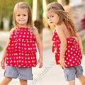 baby girl costume girls clothing sets chiffon Dot t shirt denim jeans Shorts toddler girl clothing deguisement vetement enfant